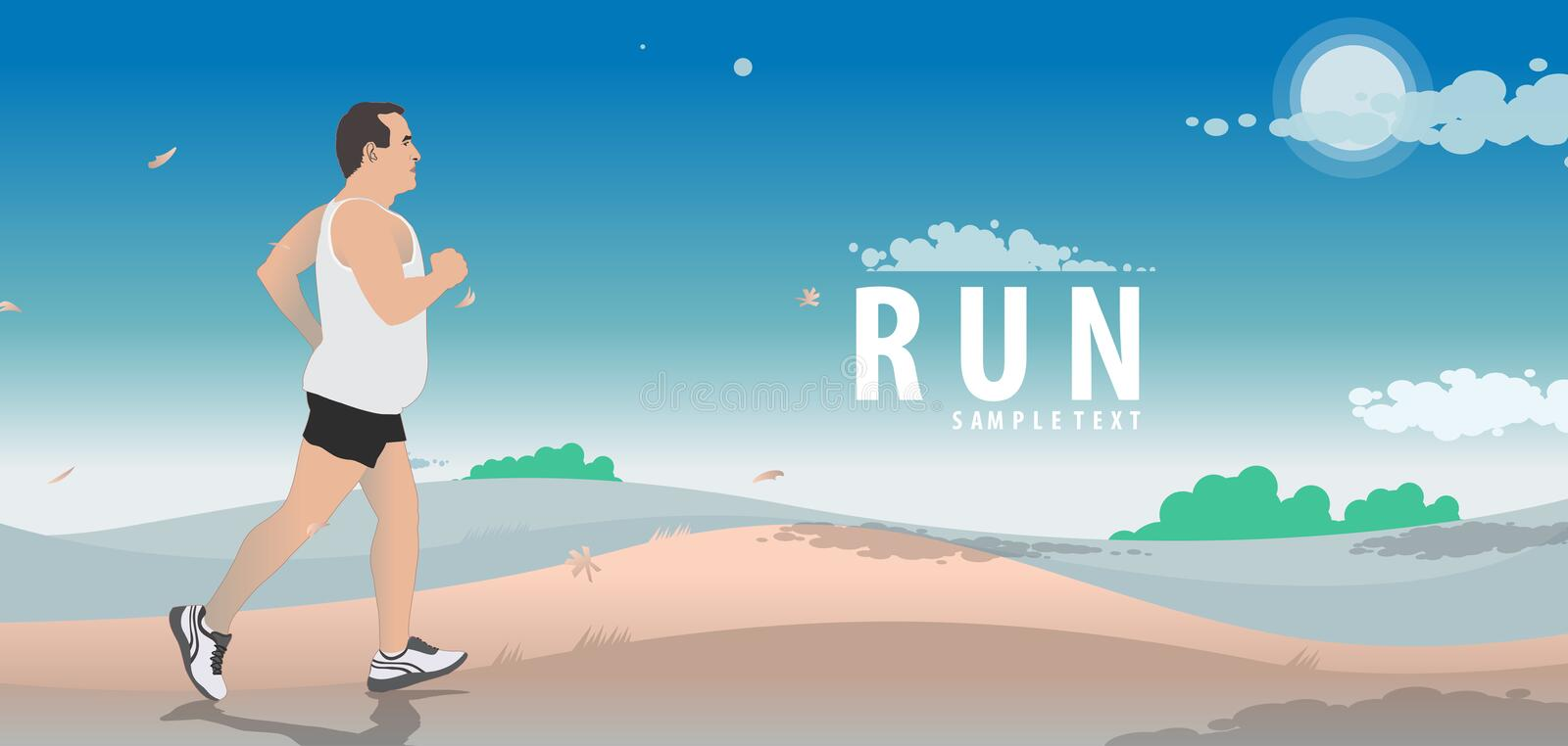 Run logo, emblem with abstract running people silhouettes, marathon and healthy lifestyle vector stock illustration