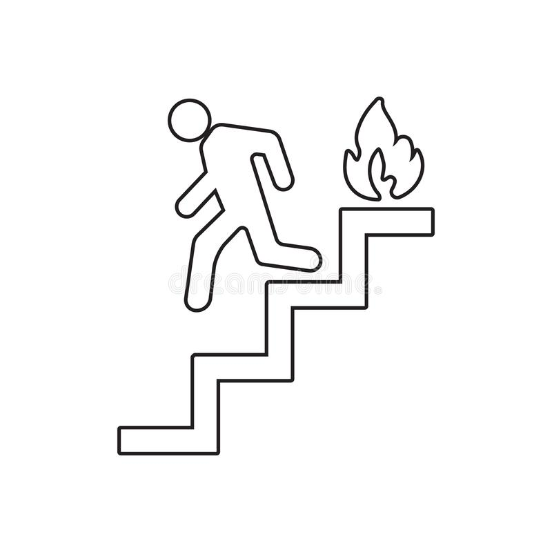 run man in the stairs exit icon. Element of fire guardfor mobile concept and web apps icon. Outline, thin line icon for website stock illustration