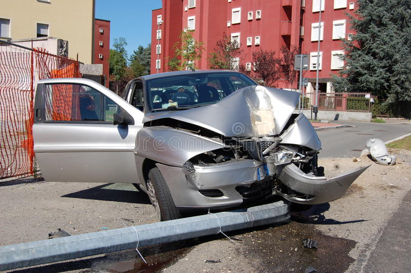 Download Run-off-road Collision In Urban Area Editorial Photography - Image: 20918327