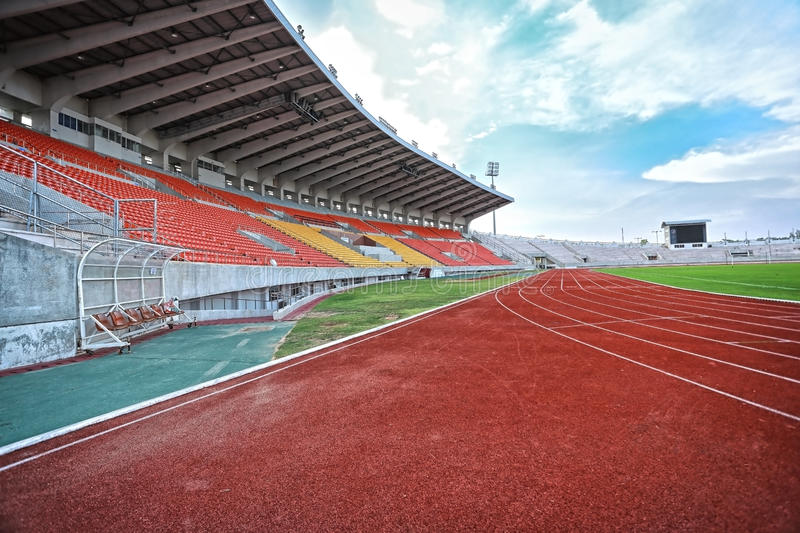 Run race track in sport stadium stock images