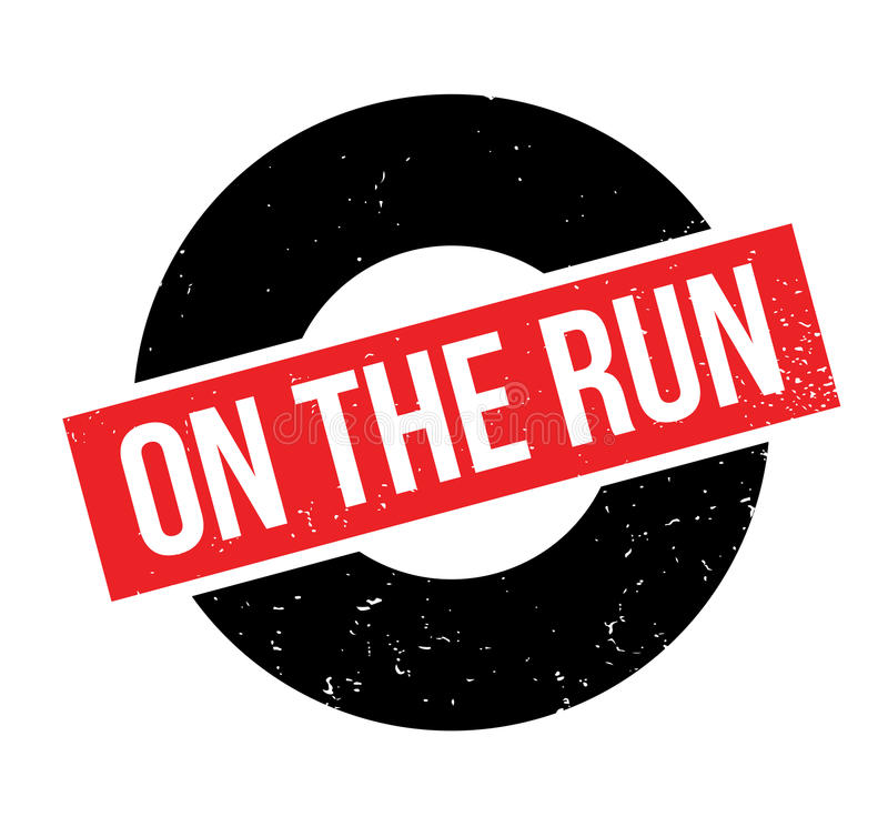 On The Run rubber stamp. Grunge design with dust scratches. Effects can be easily removed for a clean, crisp look. Color is easily changed vector illustration