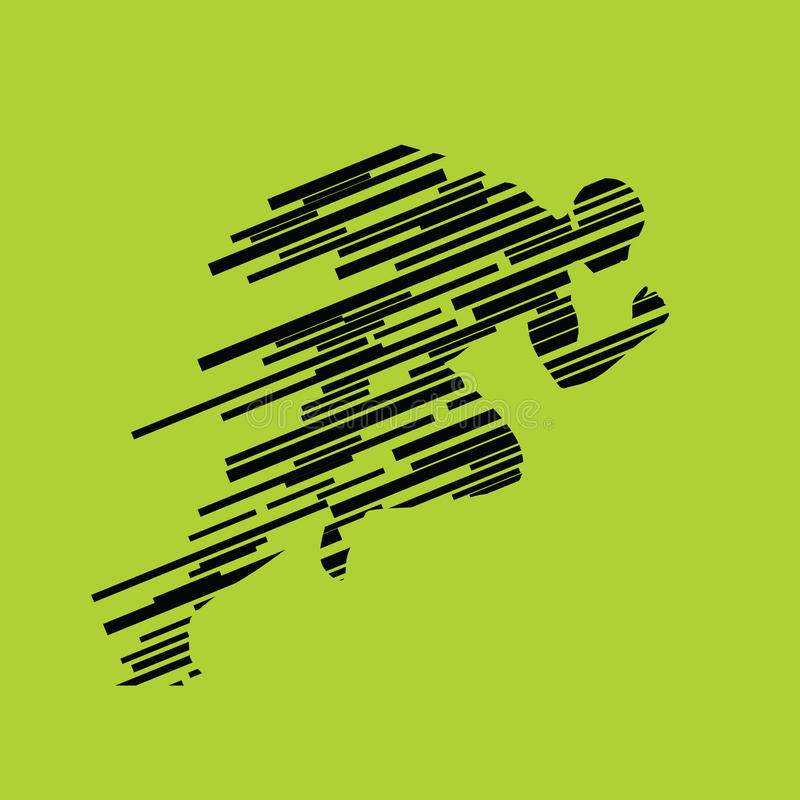 Run, running man from lines, abstract silhouette royalty free illustration
