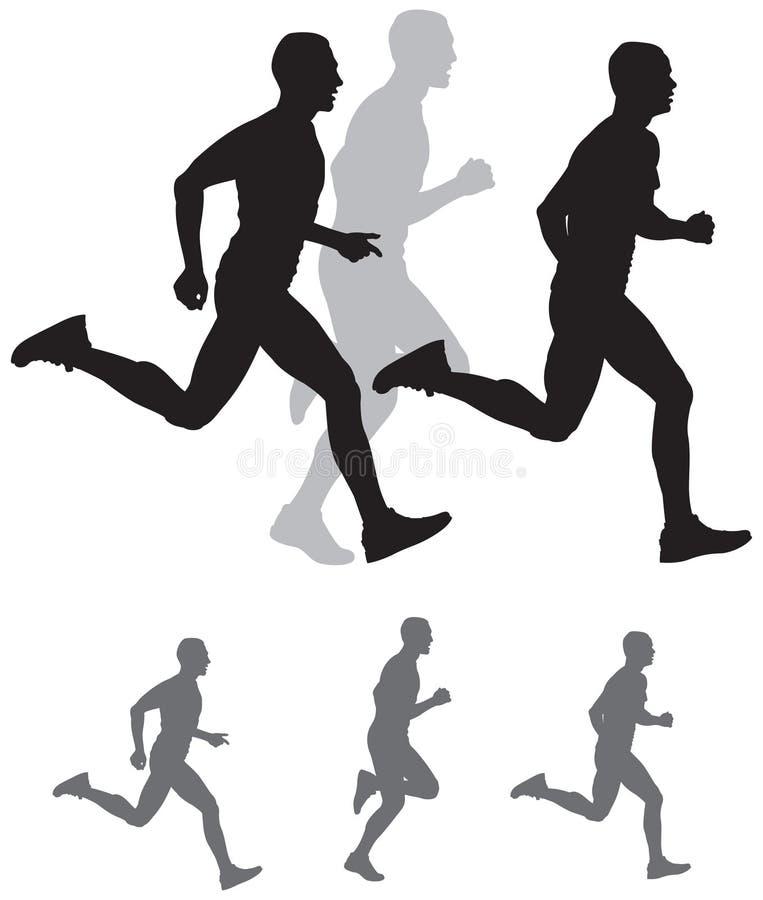 Run, Running sportsman silhouettes vector illustration