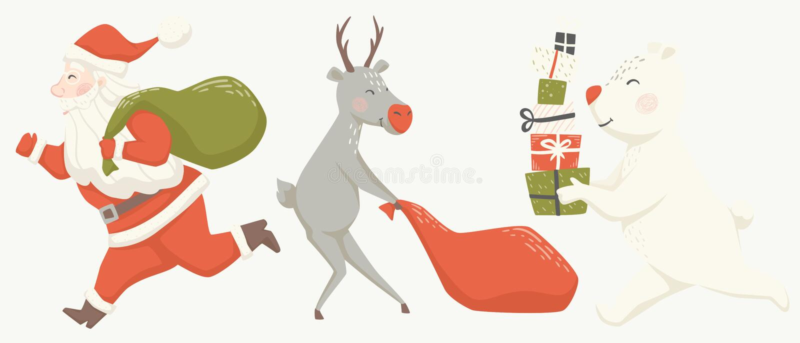Run Santa Claus reindeer, and bear with gift box and bag scandinavian card. vector illustration