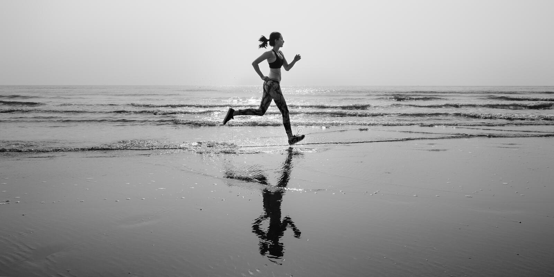 Run Sea Sand Sport Sprint Relax Exercise Beach Concept stock image