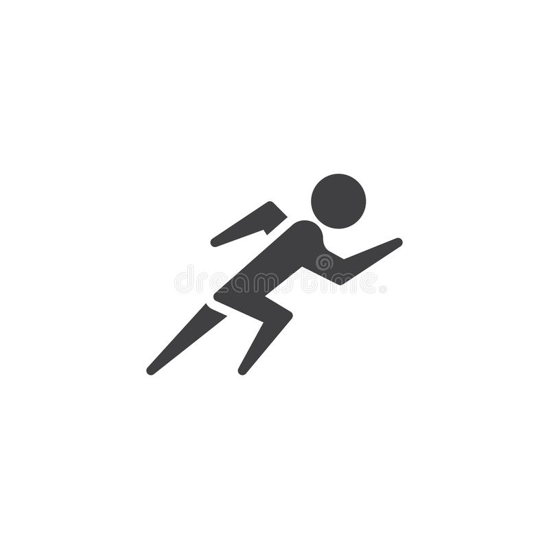 Run sprint sport vector icon. Filled flat sign for mobile concept and web design. Sprinter athlete running glyph icon. Symbol, logo illustration. Pixel perfect stock illustration