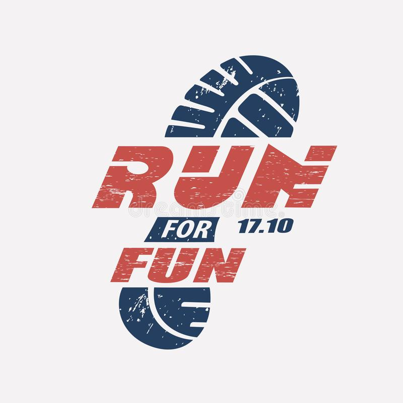 Run symbol in grunge style, marathon icon. Poster and logo template vector illustration