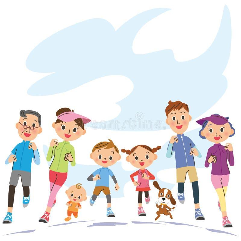Run in three-generation family. I run in close three-generation family happily vector illustration