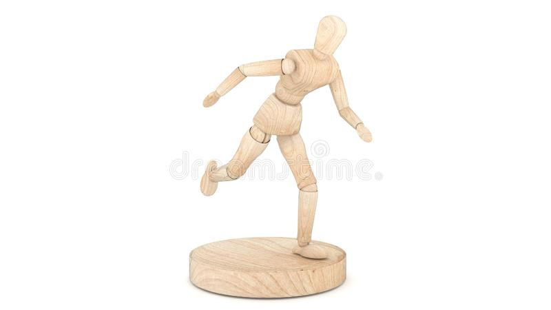 Run Wooden Dummy. 3D rendering royalty free stock image