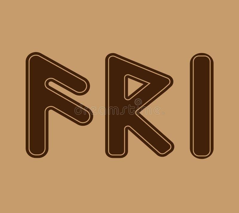Runan symboliserar fall för bra lycka i rätten Och den norska Futharken är en uppsättning av vikingregler stock illustrationer