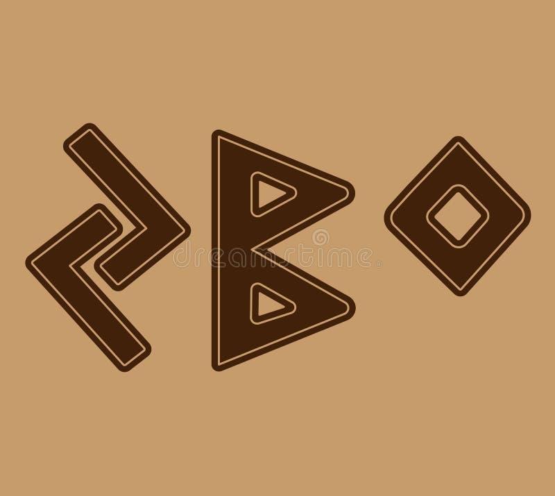 Runan symboliserar fruktsamhett Och den norska Futharken är en uppsättning av vikingregler royaltyfri illustrationer