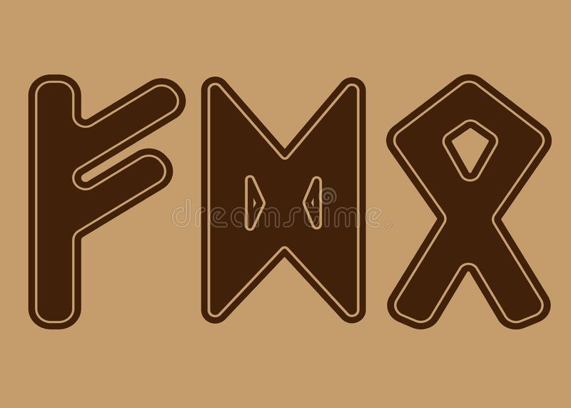 Runan symboliserar pengar, egenskap Och den norska Futharken är en uppsättning av vikingregler vektor illustrationer