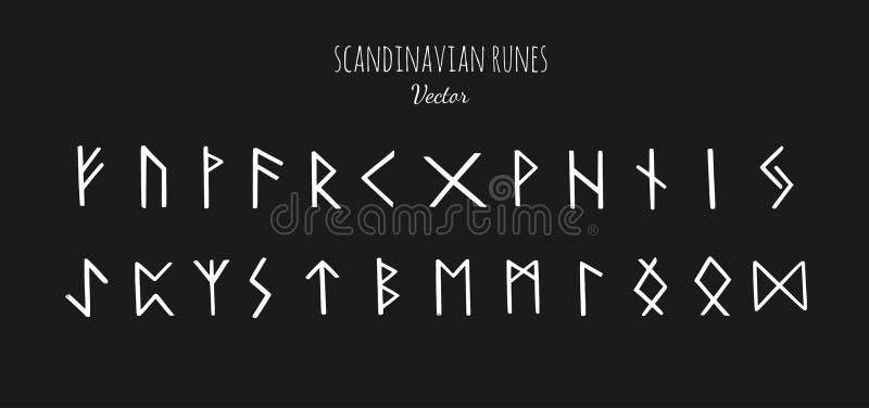 Runas escandinavas mágicas Futhark viejo Mano del vector dibujada ilustración del vector