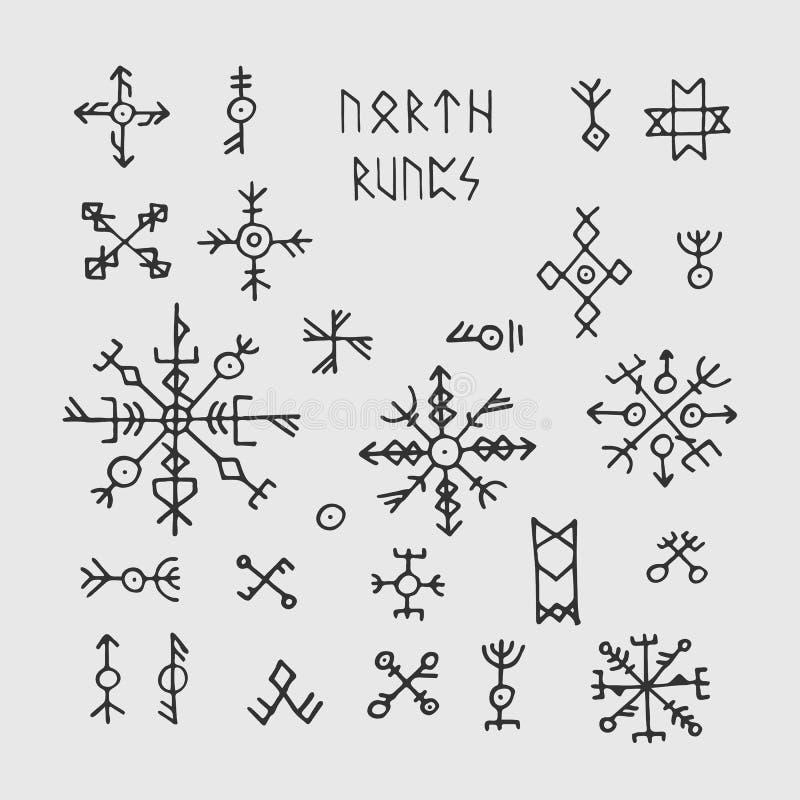 Runas y talismanes de vikingo de los nórdises de Futhark Símbolos ocultos del vector pagano nórdico para el tatuaje stock de ilustración