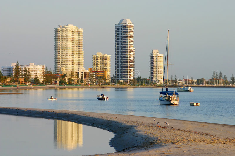 Runaway Bay Gold Coast. View of Runaway Bay on the Gold Coast in Australia from the Broadwater on a hazy sunrise royalty free stock photo