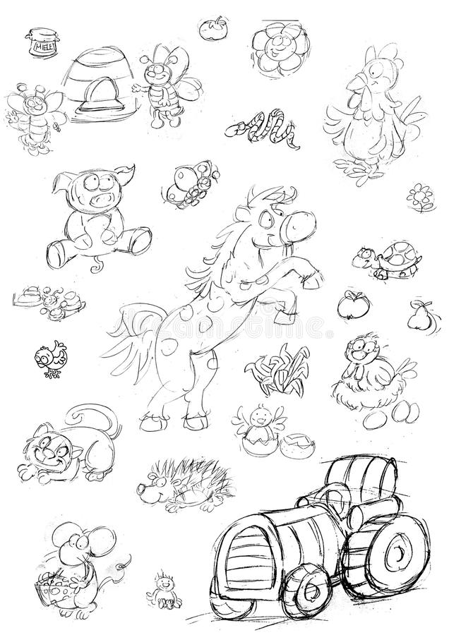 Runaway horse cat and pig sitting hen bees and tractor,sketches and pencil sketches and doodles. Runaway horse cat and pig sitting hen bees and tractor humorist vector illustration