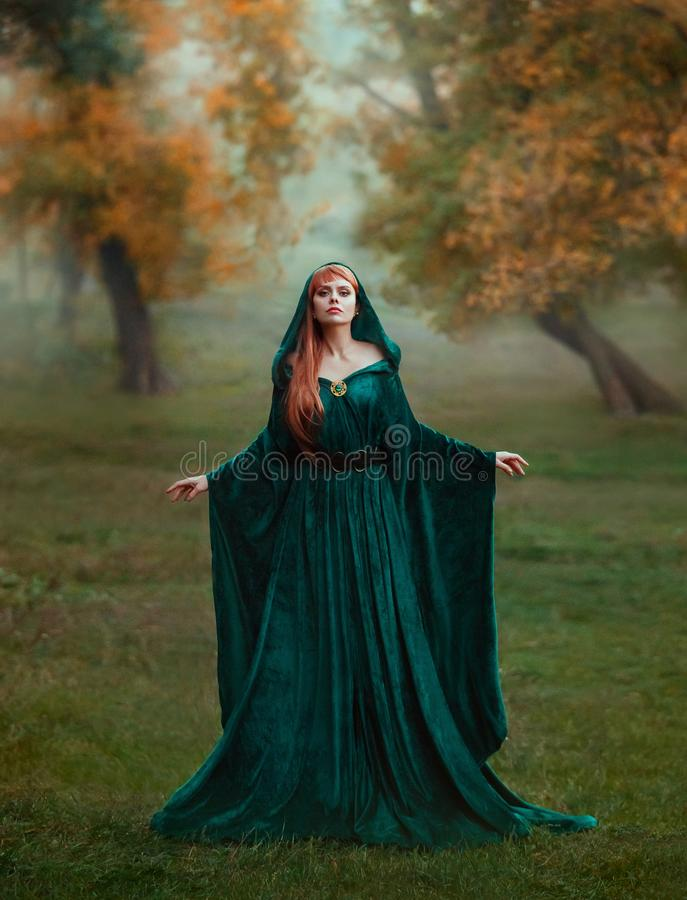 Runaway princess with red blond long hair dressed in a green emerald expensive velvet royal cloak-dress with a precious. Brooch, the girl got lost in a dark stock images