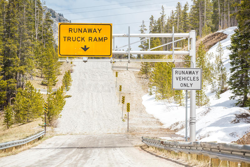 Runaway Truck Ramp. Road Sign royalty free stock images
