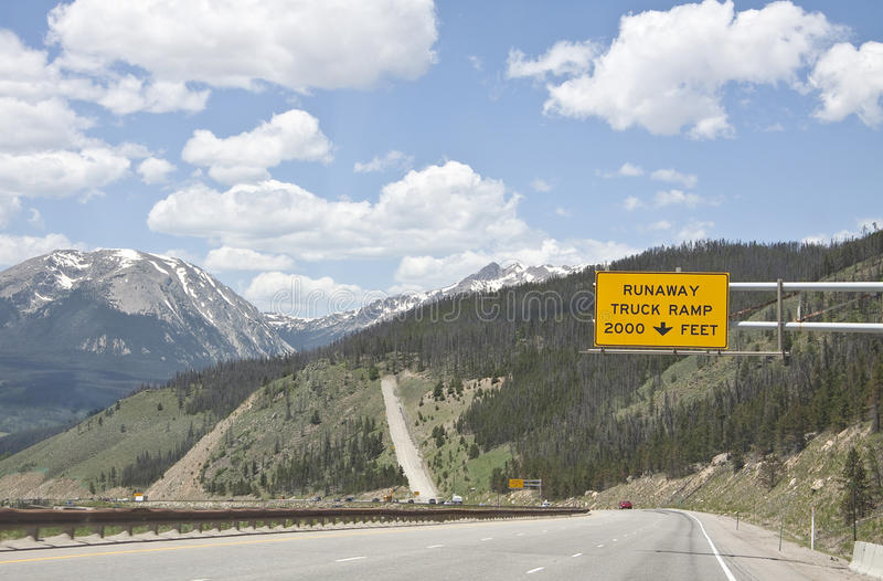 Runaway truck ramp sign. Runaway truck ramp in the Rocky Mountains, Colorado, United States of America royalty free stock photo