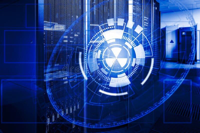 Rund abstrakt teknisk bakgrund som läggas över på serverdatorhall arkivbild