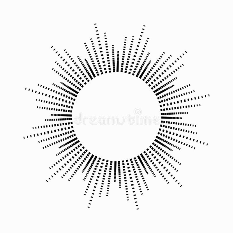 Rund abstrakt utjämnaremusik i formen av solen med strålar Symbol monokrom, symbol den lätta designen redigerar elementet till ve vektor illustrationer