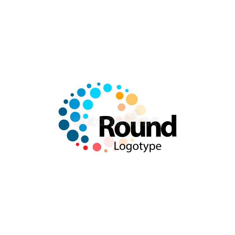 Rund böjlig abstrakt färgrik logo Den tekniskt avancerade nano molekylära brusanden cirklar tecknet Ovanlig symbol för vågvektor royaltyfri illustrationer