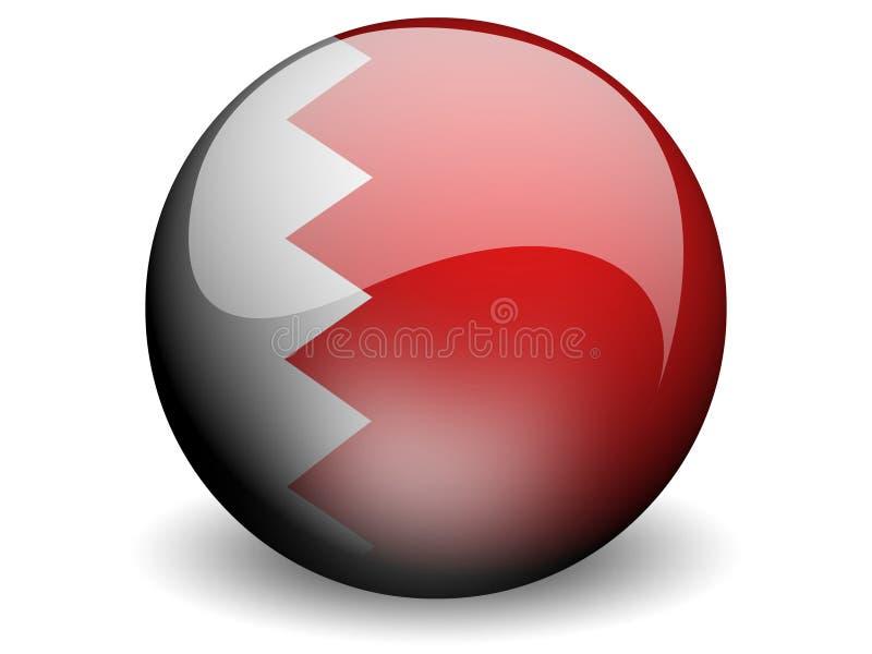 rund bahrain flagga royaltyfri illustrationer