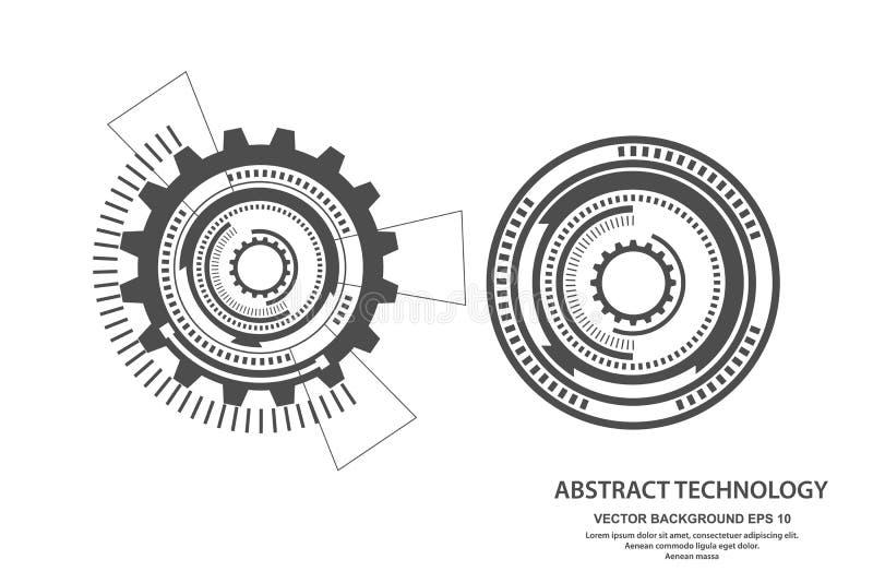 Rund bakgrund f?r teknologi, futuristisk digital innovationbakgrund ocks? vektor f?r coreldrawillustration vektor illustrationer