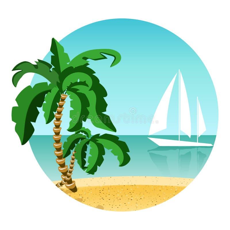 Rund bild av sommarsemestern på ön med yachten Loppsommartid Gömma i handflatan, sand och havet vektor illustrationer