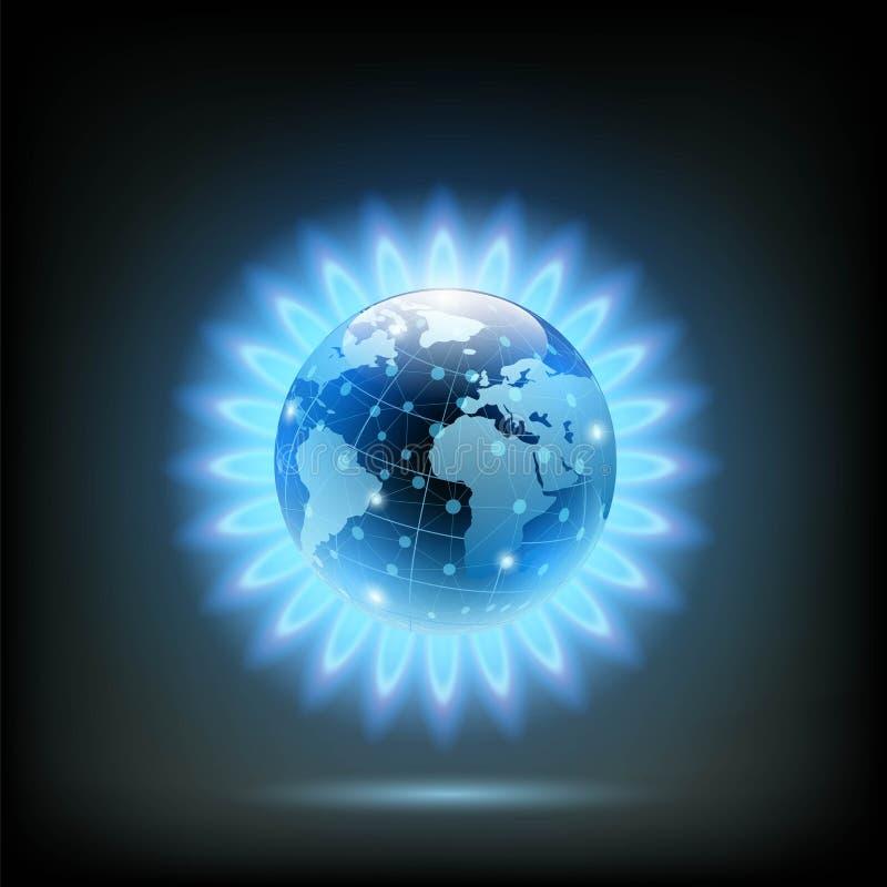 Rund blå flamma av butan med planetjord inom Gasprodukt vektor illustrationer