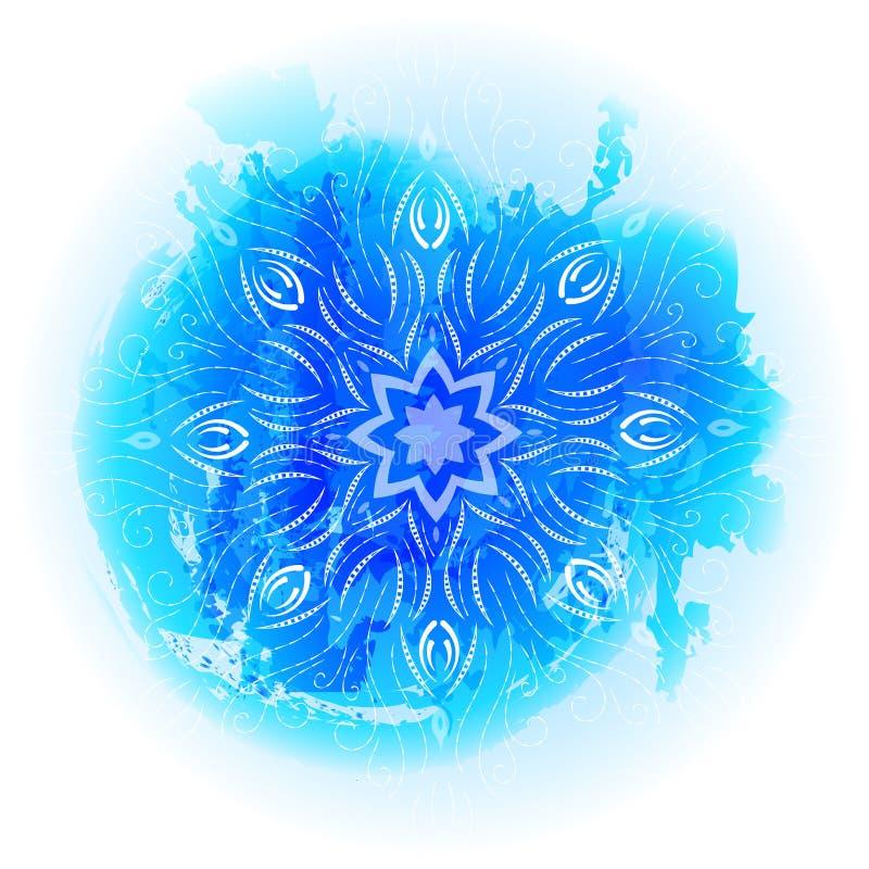 Rund blå lutningmandala på vit bakgrund Vektorbohomandala som vattenfärg Mandala med blom- modeller yoga stock illustrationer