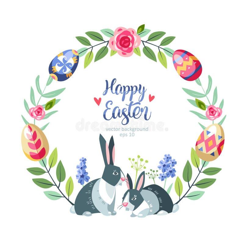 Rund blom- bakgrund för påsken growed utmärkt med kulöra easter ägg på filialen av trädet stock illustrationer