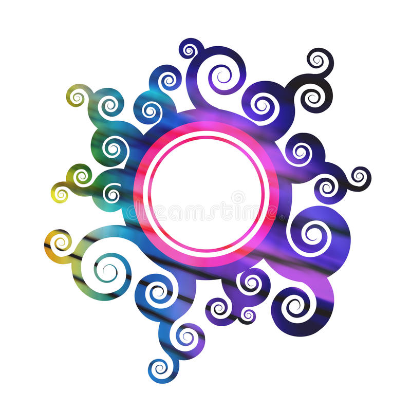 rund blom- lövverk för kant vektor illustrationer