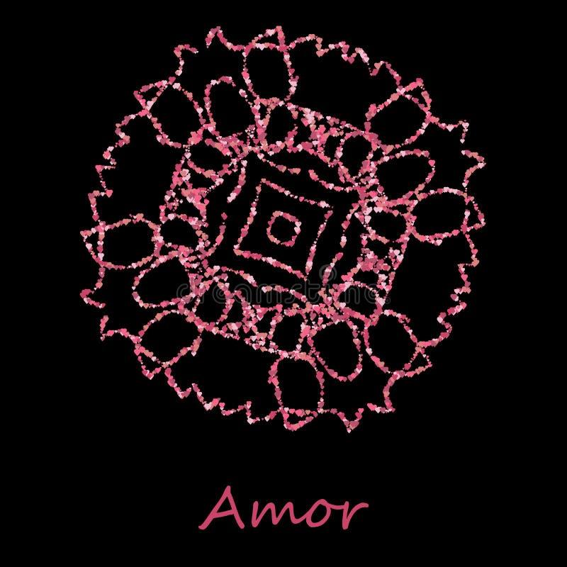 Rund blom- modell för vektor som isoleras på svart sakral geometri Geometrisk design för det textilt-skjorta trycket, reklamblad  vektor illustrationer