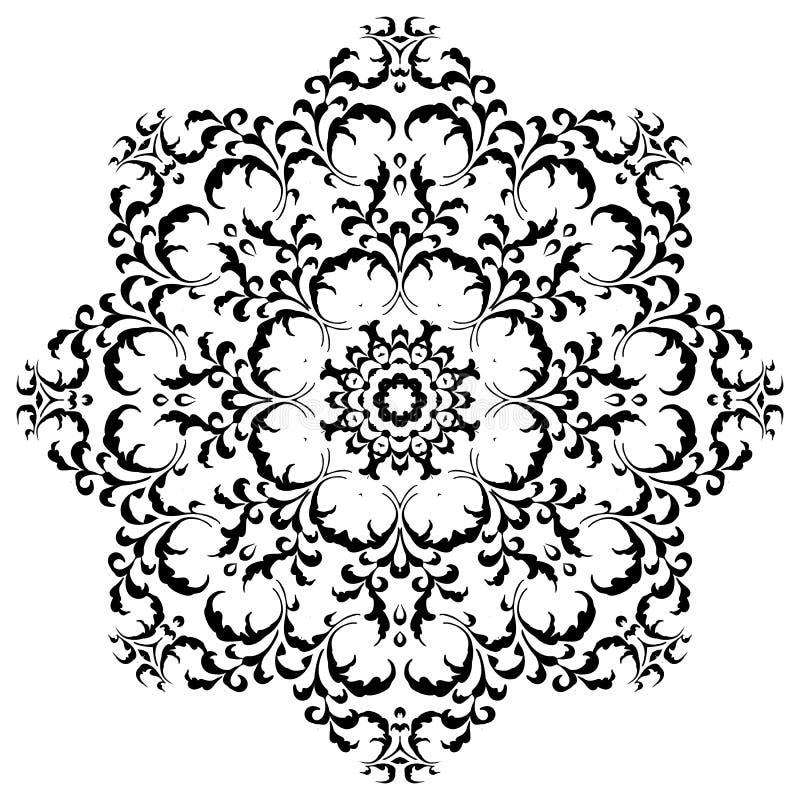 Rund blom- prydnad Mehndi Henna Tattoo Mandala royaltyfri foto