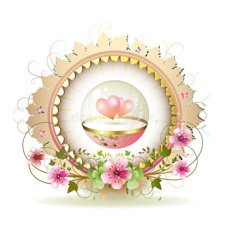 rund blom- ram stock illustrationer