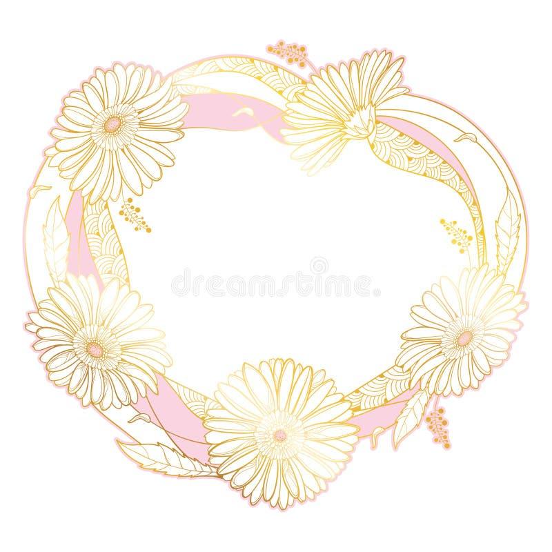 Rund bröllopkrans för vektor med översiktsgerberaen eller Gerber blomma och blad in i guld- och rosa som isoleras på vit bakgrund vektor illustrationer