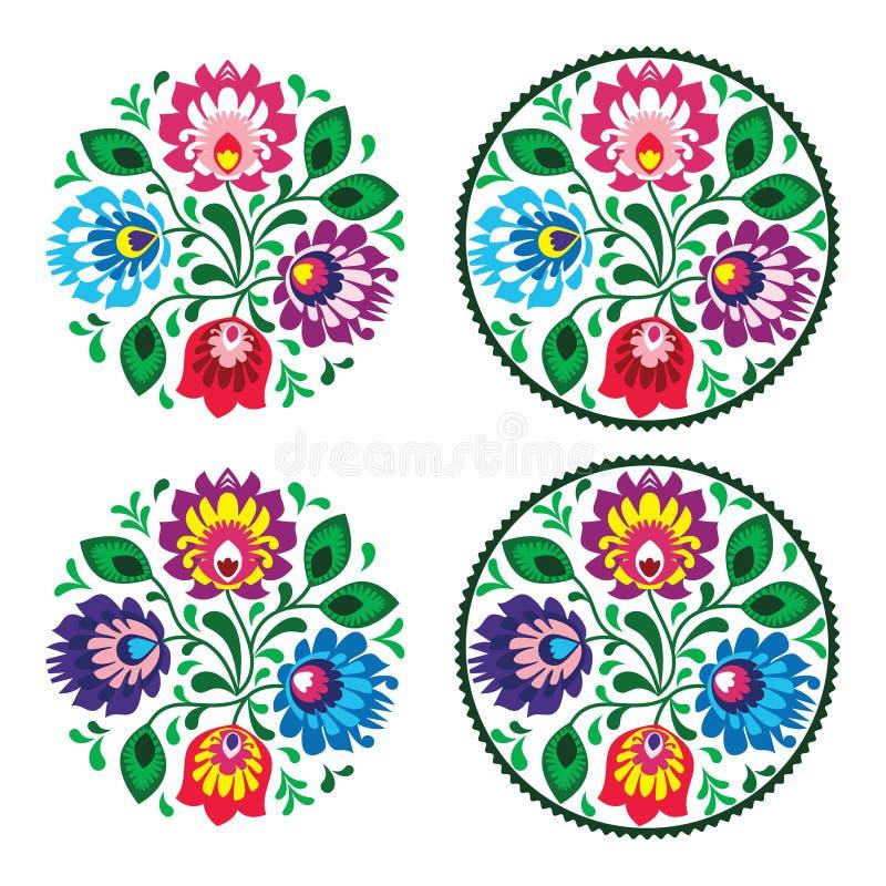 Rund broderi för person som tillhör en etnisk minoritet med blommor - traditionell tappningmodell från Polen royaltyfri illustrationer