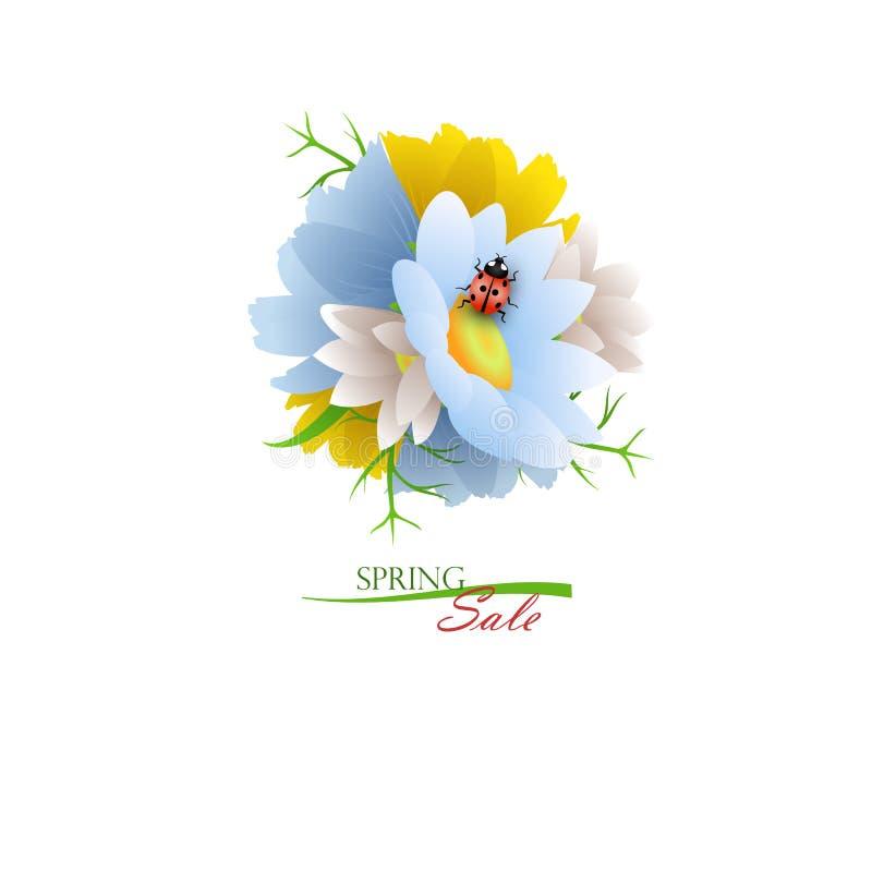 Rund bukett av blommor med nyckelpigan stock illustrationer