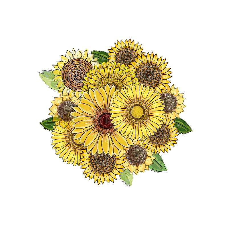 rund bukett Blom- rund beståndsdel för vektor från hand-drog gula solrosor, gerbera och sidor på vit bakgrund för kort, stock illustrationer