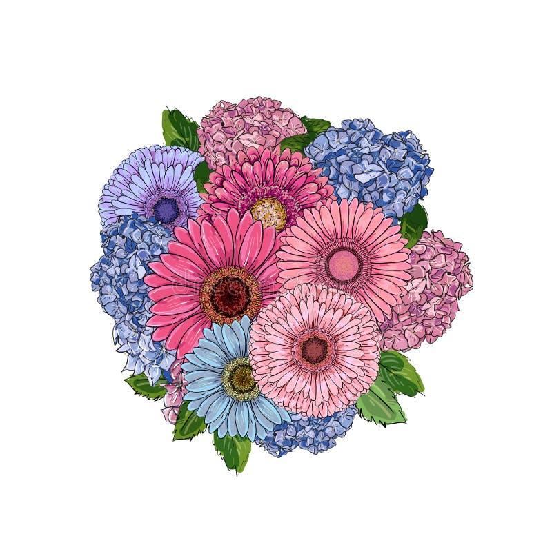 rund bukett Den dekorativa rosetten med skissar gerberaen, vanliga hortensian, den stiliserade runda mallen för blommadesignen, i vektor illustrationer
