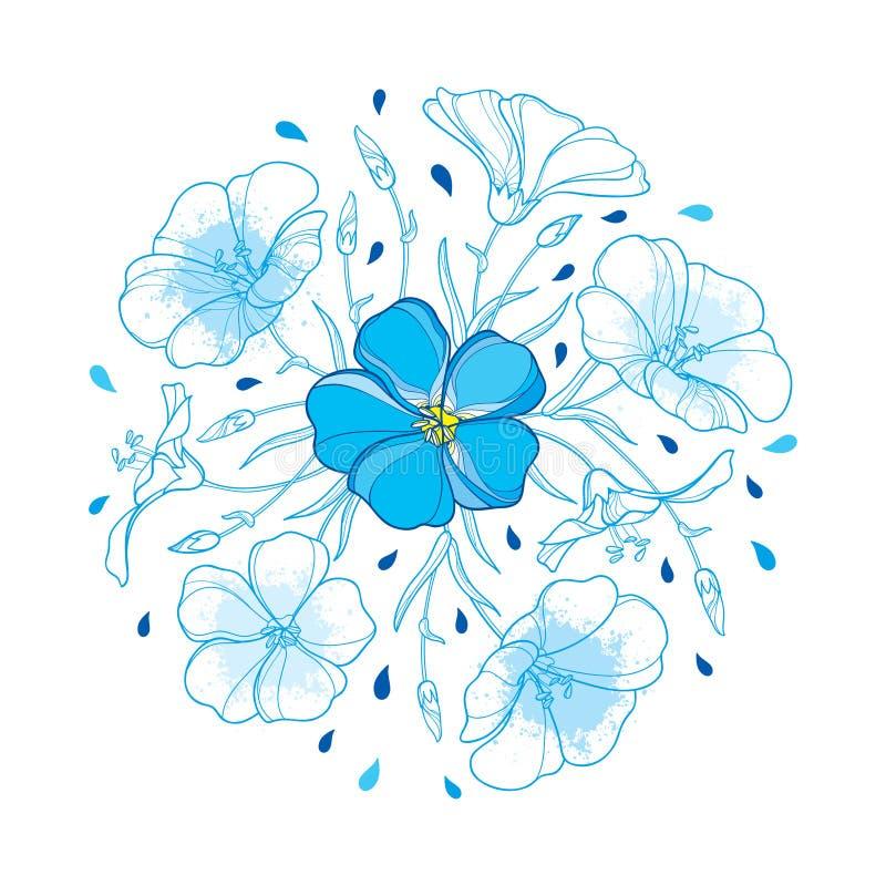 Rund bukett för vektor med översiktslinväxten eller linfrö- eller Linum blomma, knopp och blad i pastellblått som isoleras på vit vektor illustrationer