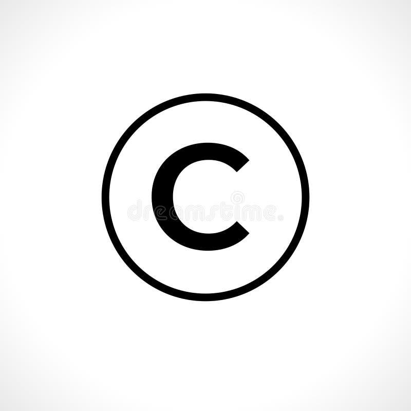 Rund copyright-symbol som isoleras på vit bakgrund royaltyfri illustrationer