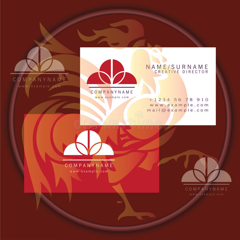 Rund dekorativ logo för affärskort vektor illustrationer