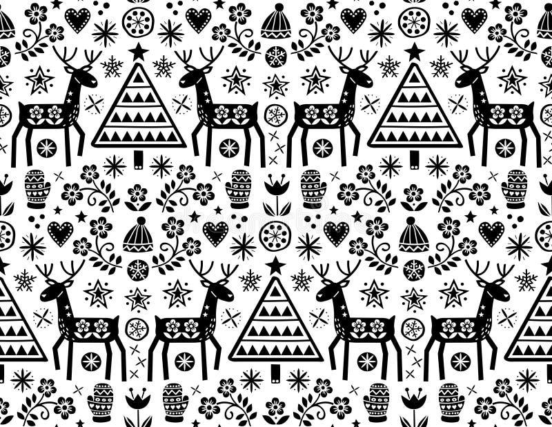 Rund design för julvektor med renen, blommor, gullig skandinavisk folkkonstmodell i svart på vit bakgrund - glade Chri vektor illustrationer