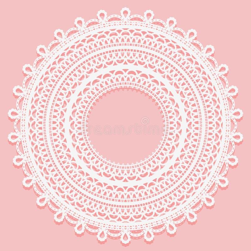 Rund doily på en rosa bakgrund Openwork snöra åt prydnaden för ramdesign stock illustrationer