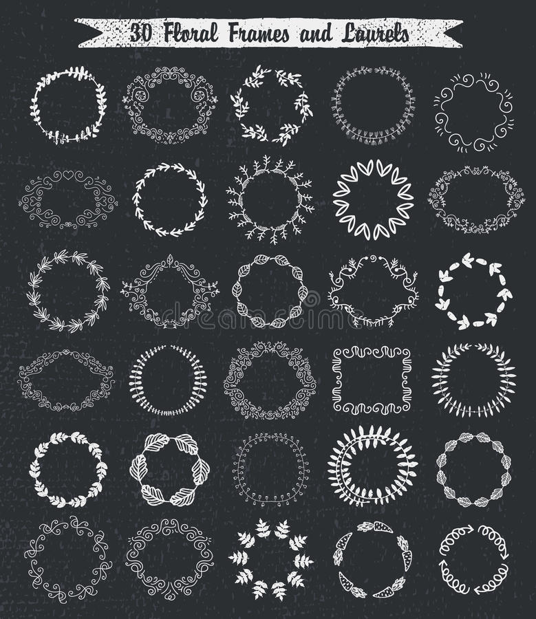 Rund drog ramar för tappning blom- hand stock illustrationer