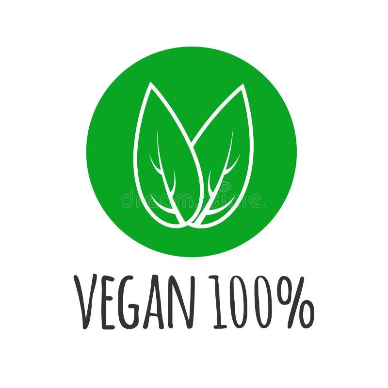 Rund eco, grön logo Strikt vegetarianvektorlogotyp Strikt vegetarianmattecken med sidor organisk design royaltyfri illustrationer