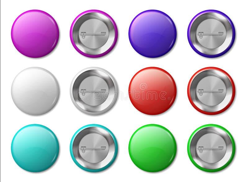 Rund emblemmodell Realistiska metalletiketter planlägger mallen, plast- glansiga cirkeletiketter, flerfärgade knappar och ben royaltyfri illustrationer