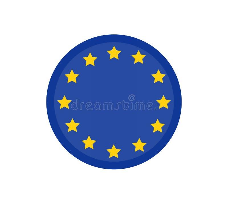 Rund europeisk vektorsymbol för facklig flagga som korrekt isoleras, officiella färger för knapp och proportion Baner, stock illustrationer